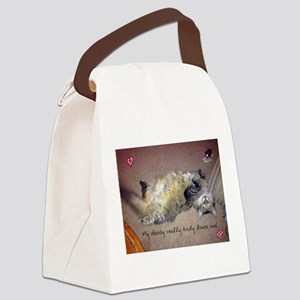 Very happy formerly stray kitty Canvas Lunch Bag