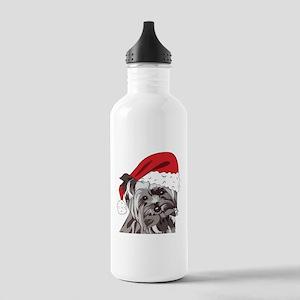 Cute Yorkie Christmas Puppy Water Bottle