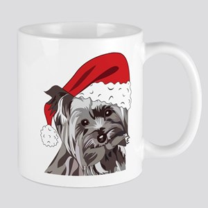 Cute Yorkie Christmas Puppy Mugs