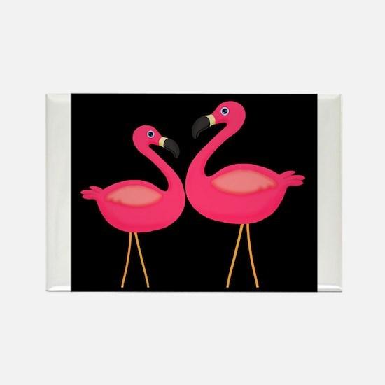 Pink Flamingoes on Black Magnets