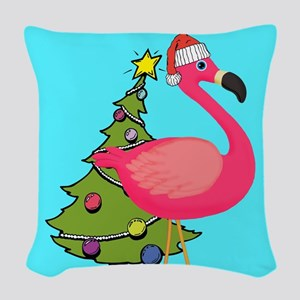 Christmas Pink Flamingo Woven Throw Pillow