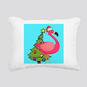 Christmas Pink Flamingo Rectangular Canvas Pillow