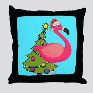 Christmas Pink Flamingo Throw Pillow