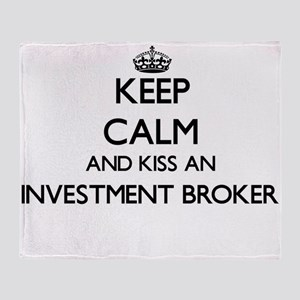 Keep calm and kiss an Investment Bro Throw Blanket
