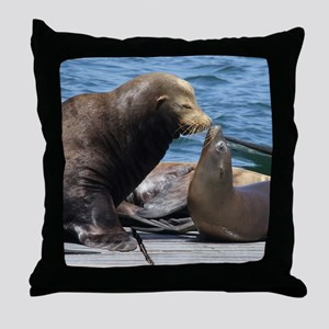 Dad and Baby Sealion Throw Pillow