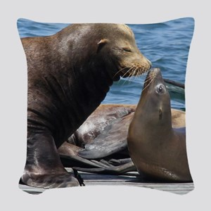 Dad and Baby Sealion Woven Throw Pillow