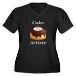 Cake Artiste Women's Plus Size V-Neck Dark T-Shirt