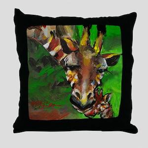 Giraffe Mom and Baby Throw Pillow