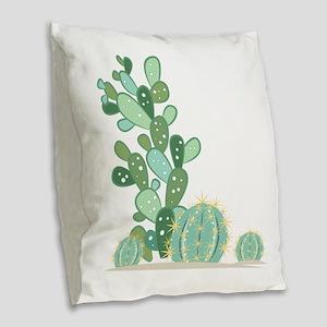 Cactus Plants Burlap Throw Pillow
