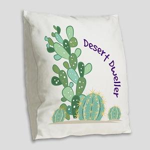 Desert Dweller Burlap Throw Pillow