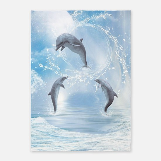 The Dreams Of Dolphins 5'x7'Area Rug