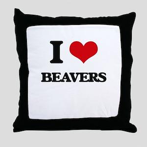 I love Beavers Throw Pillow