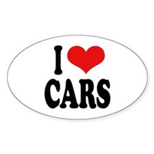 I Love Cars Oval Sticker