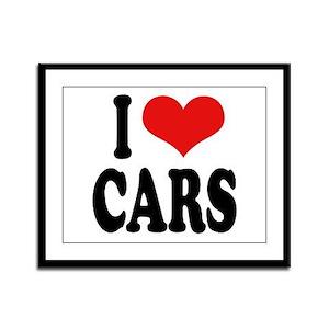 I Love Cars Framed Panel Print