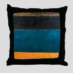 ROTHKO TEAL BROWN BLACK ORANGE Throw Pillow