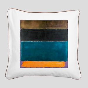 ROTHKO TEAL BROWN BLACK ORANGE Square Canvas Pillo