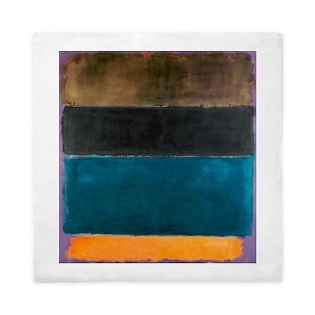 Rothko Teal Brown Black Orange Queen Duvet By