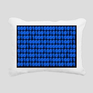 Blue Binary Code on Black Rectangular Canvas Pillo