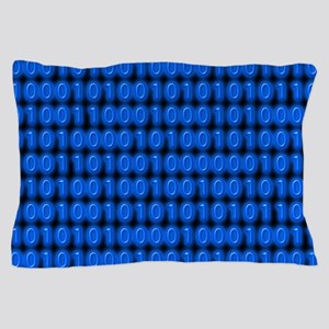 Blue Binary Code on Black Pillow Case