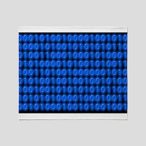 Blue Binary Code on Black Throw Blanket