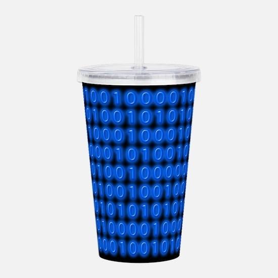 Blue Binary Code on Black Acrylic Double-wall Tumb