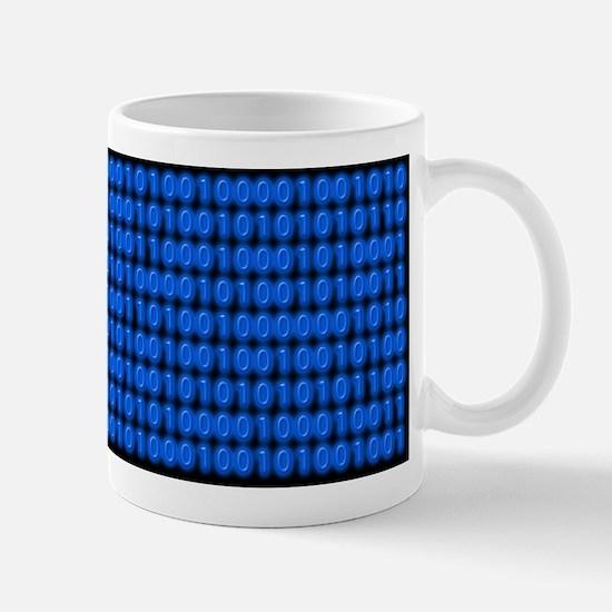 Blue Binary Code on Black Mugs
