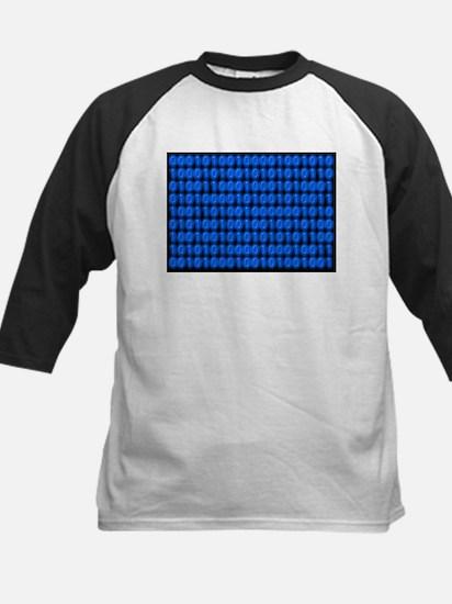 Blue Binary Code on Black Baseball Jersey
