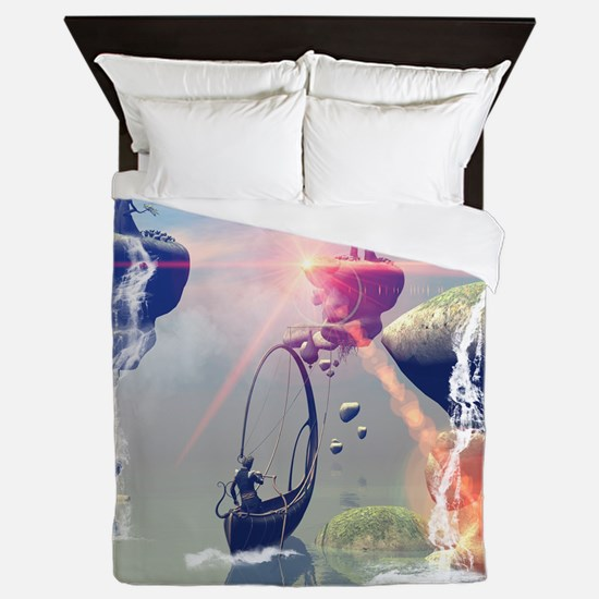 The fantasy world with flying rocks Queen Duvet