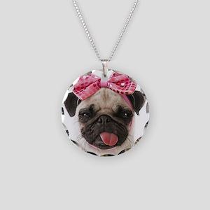 Pug Necklace Circle Charm