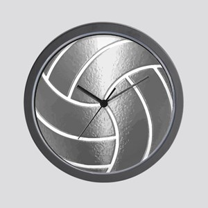 Silver Volleyball Classic Wall Clock