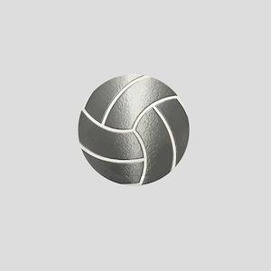 Silver Volleyball Classic Mini Button
