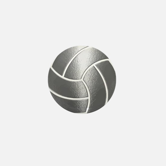 Silver Volleyball Classic Mini Button