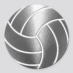 Silver Volleyball Classic Round Car Magnet