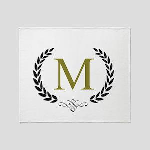 Gold Monogram with Laurels Throw Blanket