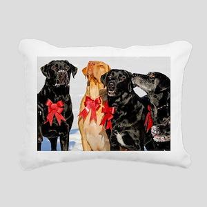 Christmas Bow Dogs!  Rectangular Canvas Pillow