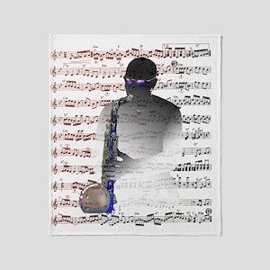 Saxophonist Score by Bluesax Throw Blanket