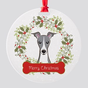Italian Greyhound Christmas Wreath Round Ornament