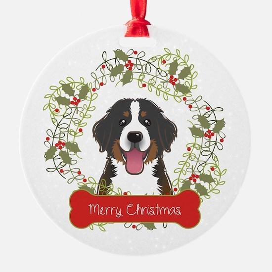 Bernese Mountain Dog Wreath Ornament