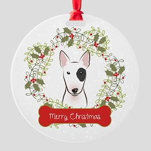 Bull Terrier Christmas Wreath Round Ornament