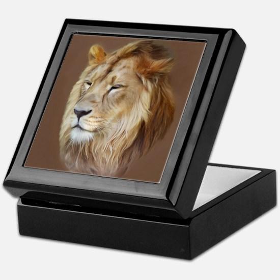 Painting Lion Keepsake Box