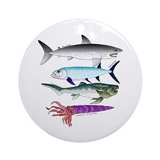 4 Extinct Sea Monsters Ornament (Round)