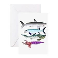 4 Extinct Sea Monsters Greeting Cards