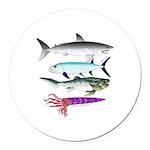 4 Extinct Sea Monsters Round Car Magnet