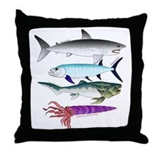 4 Extinct Sea Monsters Throw Pillow