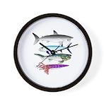 4 Extinct Sea Monsters Wall Clock