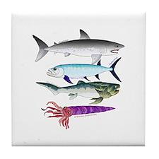 4 Extinct Sea Monsters Tile Coaster