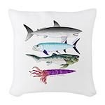 4 Extinct Sea Monsters Woven Throw Pillow