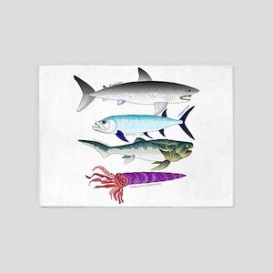 4 Extinct Sea Monsters 5'x7'Area Rug