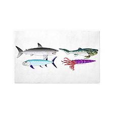 4 Extinct Sea Monsters Area Rug