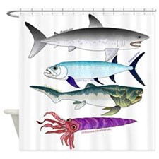 4 Extinct Sea Monsters Shower Curtain